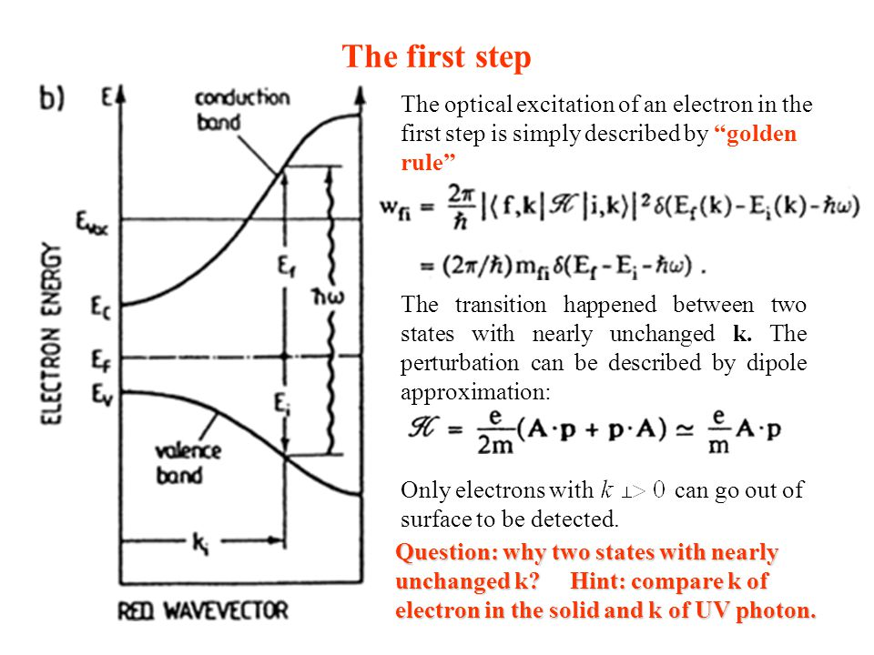The first step The optical excitation of an electron in the first step is simply described by golden rule