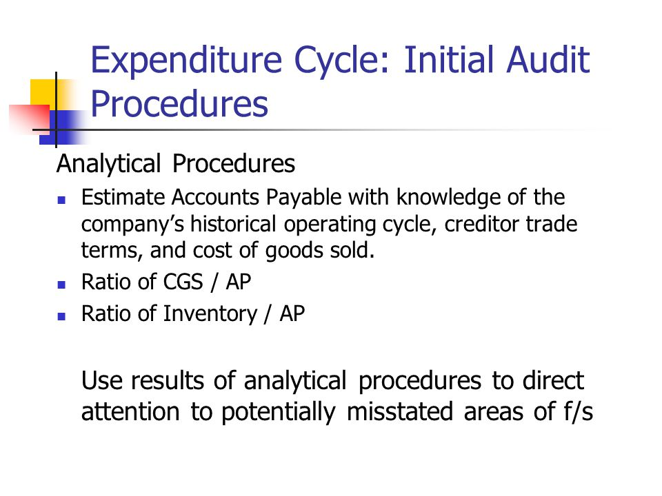 Expenditure Cycle: Initial Audit Procedures