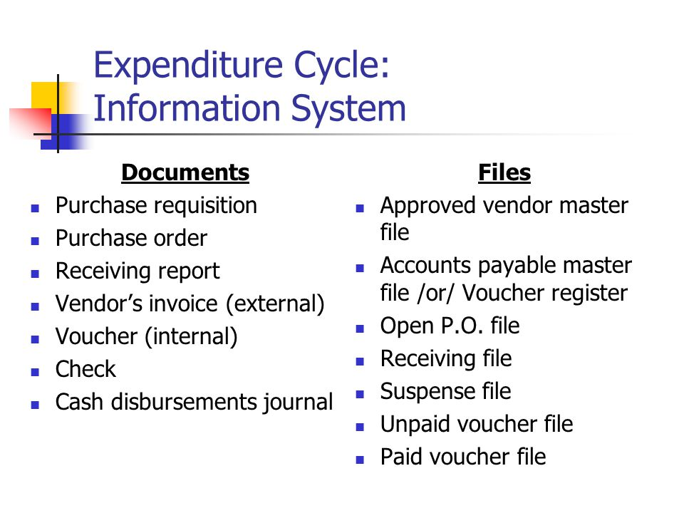 Expenditure Cycle: Information System