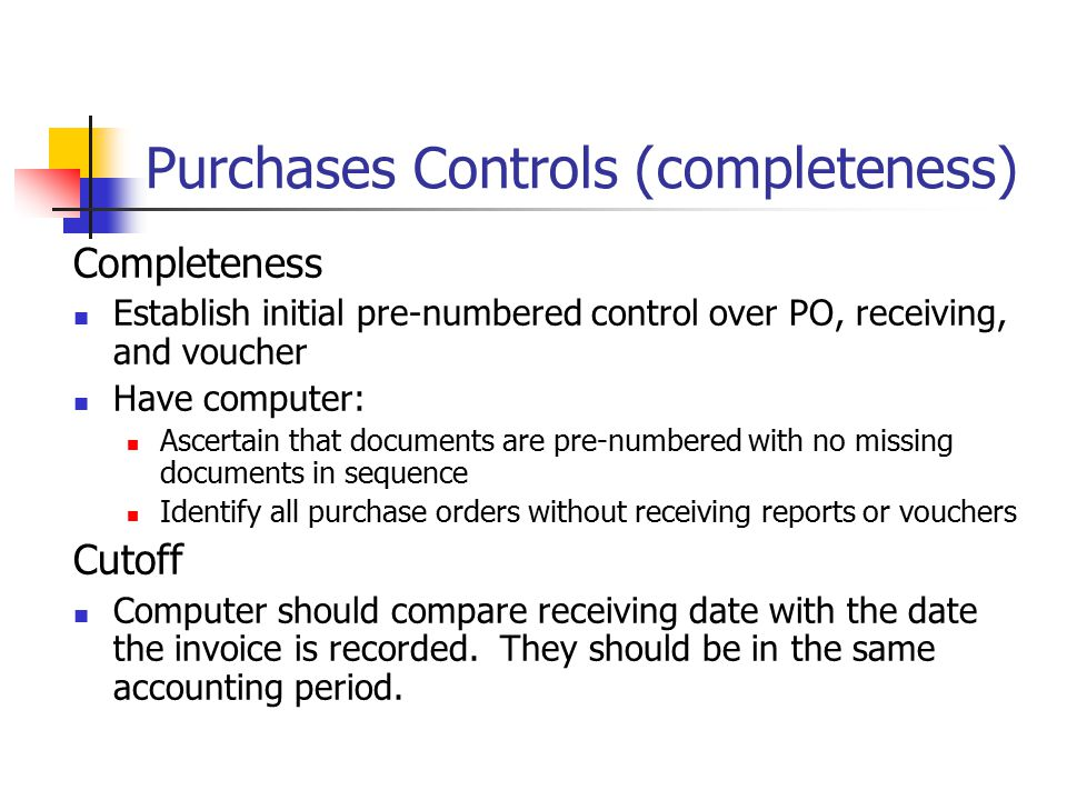 Purchases Controls (completeness)