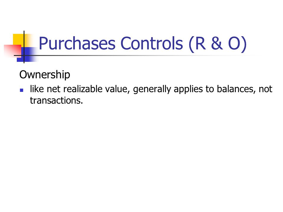 Purchases Controls (R & O)