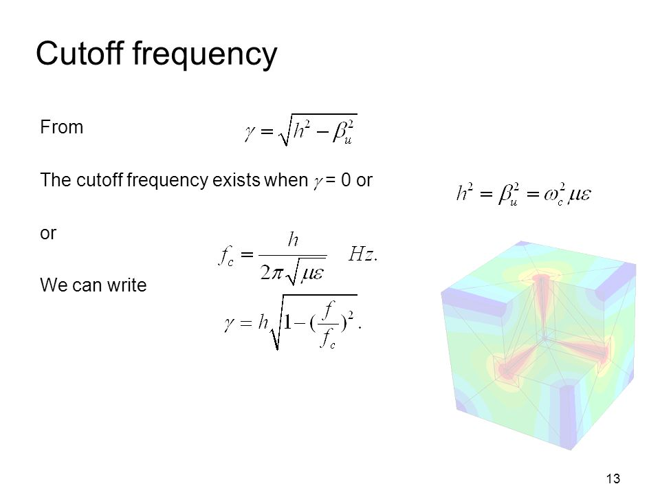 Cutoff frequency From The cutoff frequency exists when  = 0 or or