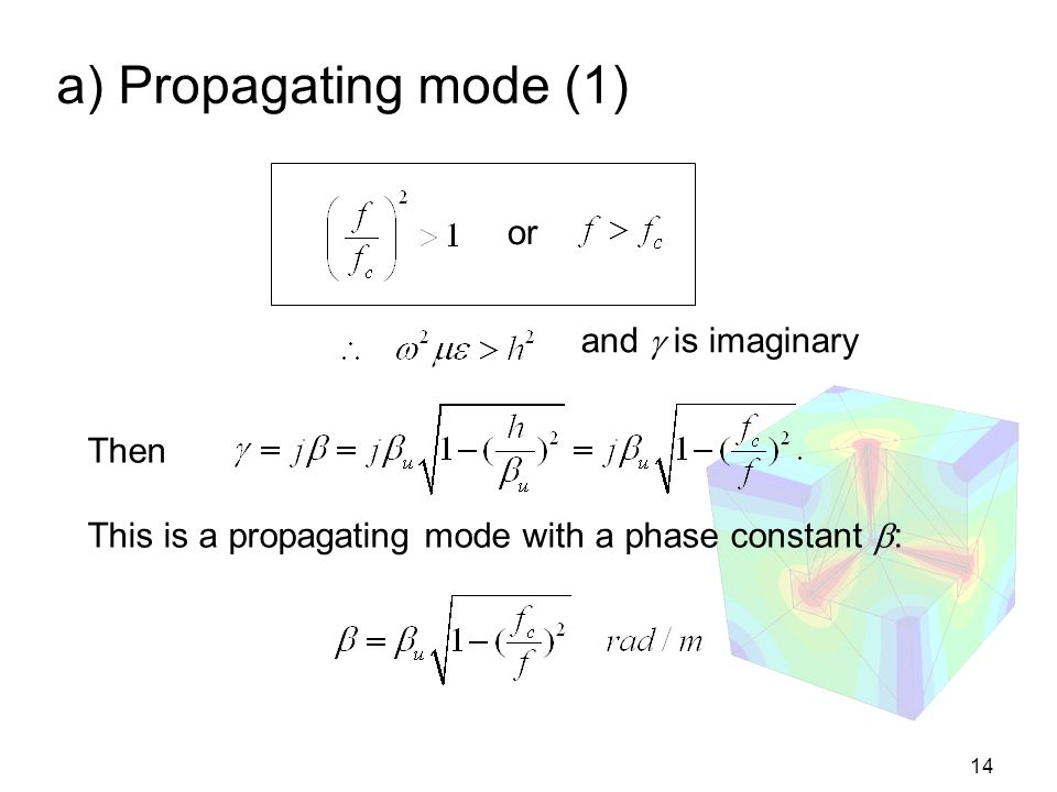 a) Propagating mode (1) or and  is imaginary Then
