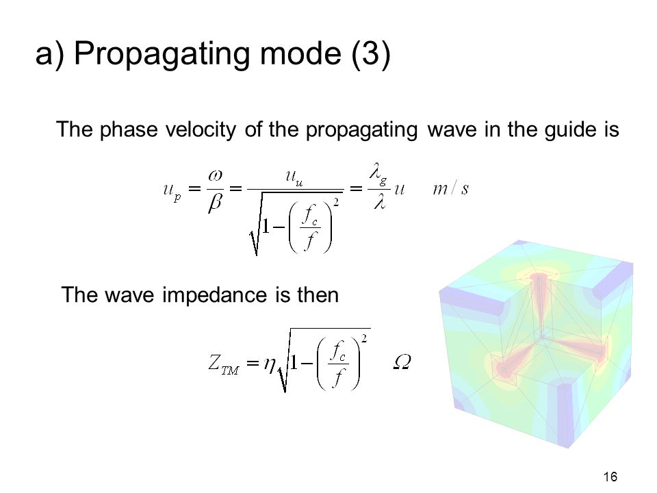 a) Propagating mode (3) The phase velocity of the propagating wave in the guide is.