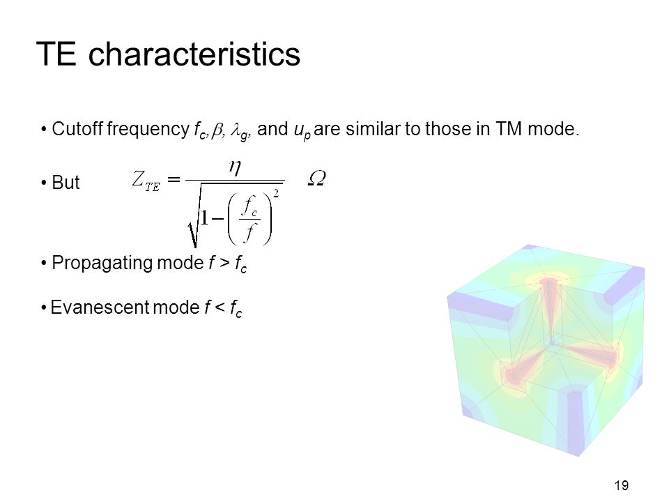 TE characteristics Cutoff frequency fc,, g, and up are similar to those in TM mode. But. Propagating mode f > fc.