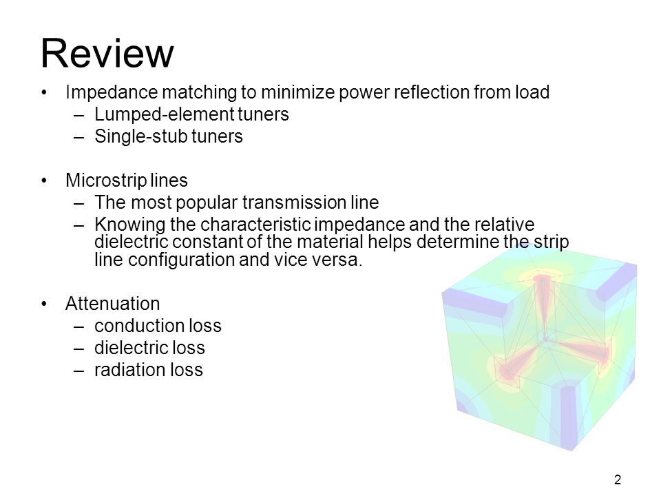 Review Impedance matching to minimize power reflection from load