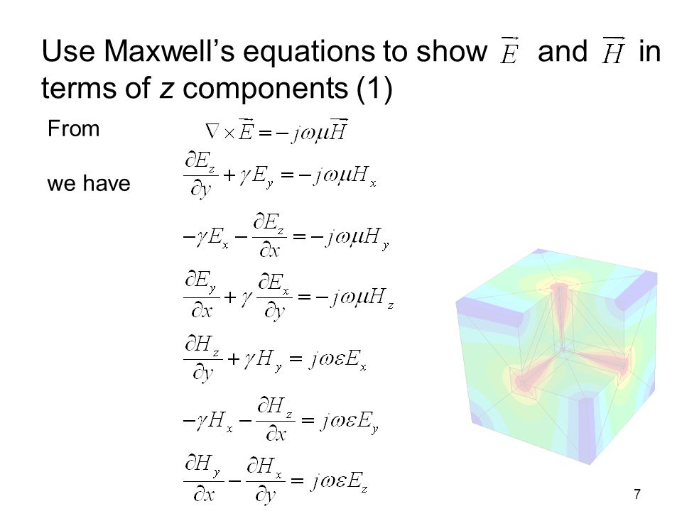 Use Maxwell's equations to show and in terms of z components (1)