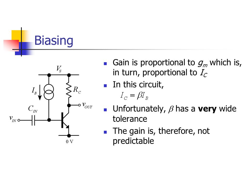 Biasing Gain is proportional to gm which is, in turn, proportional to IC. In this circuit, Unfortunately, b has a very wide tolerance.