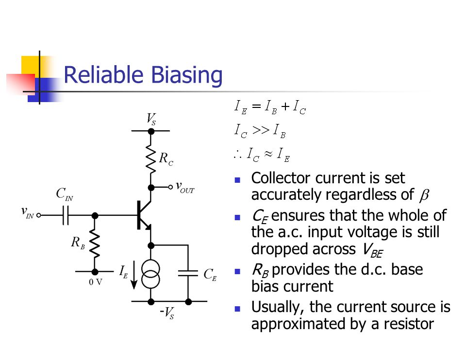 Reliable Biasing Collector current is set accurately regardless of b