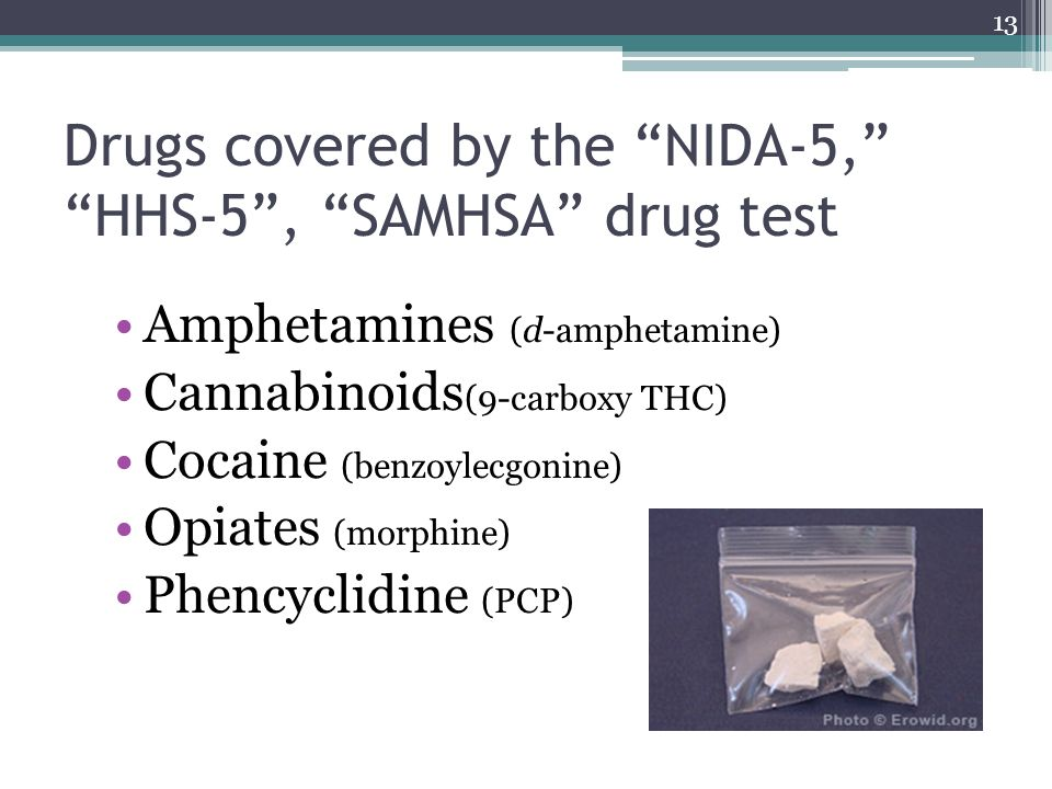 Drugs covered by the NIDA-5, HHS-5 , SAMHSA drug test