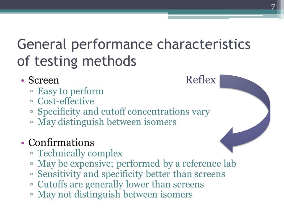 General performance characteristics of testing methods