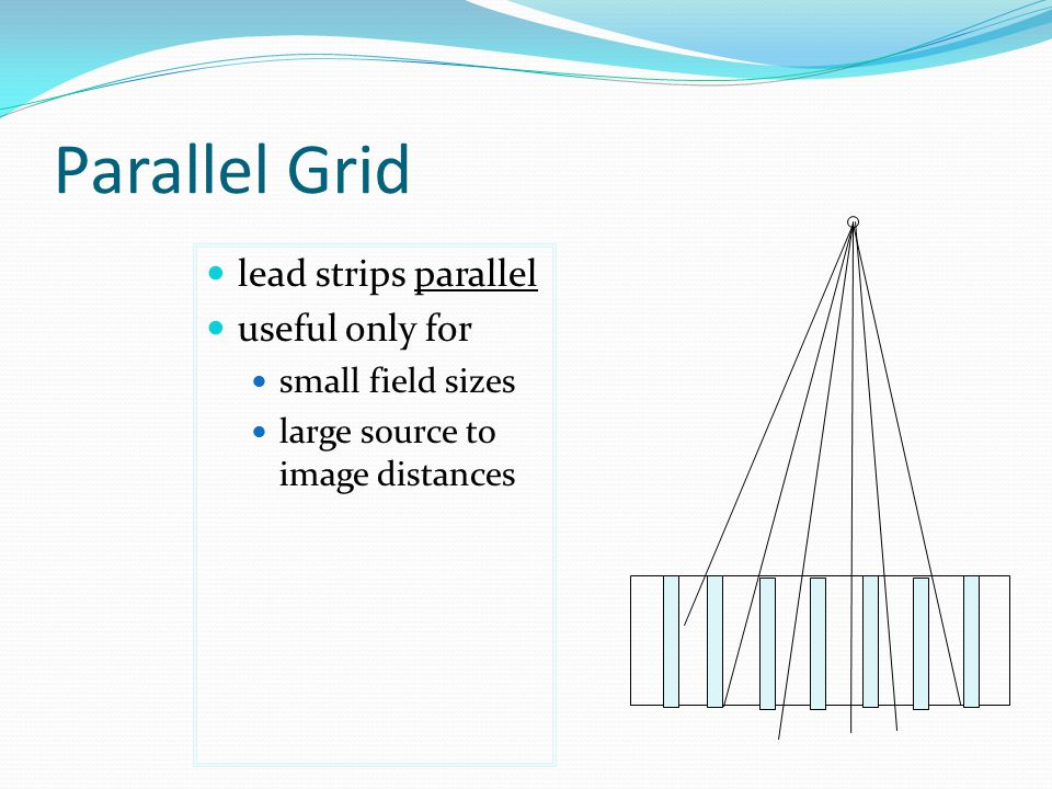 Parallel Grid lead strips parallel useful only for small field sizes