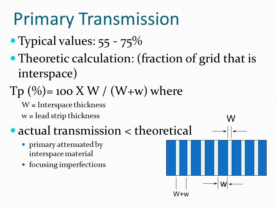 Primary Transmission Typical values: 55 - 75%