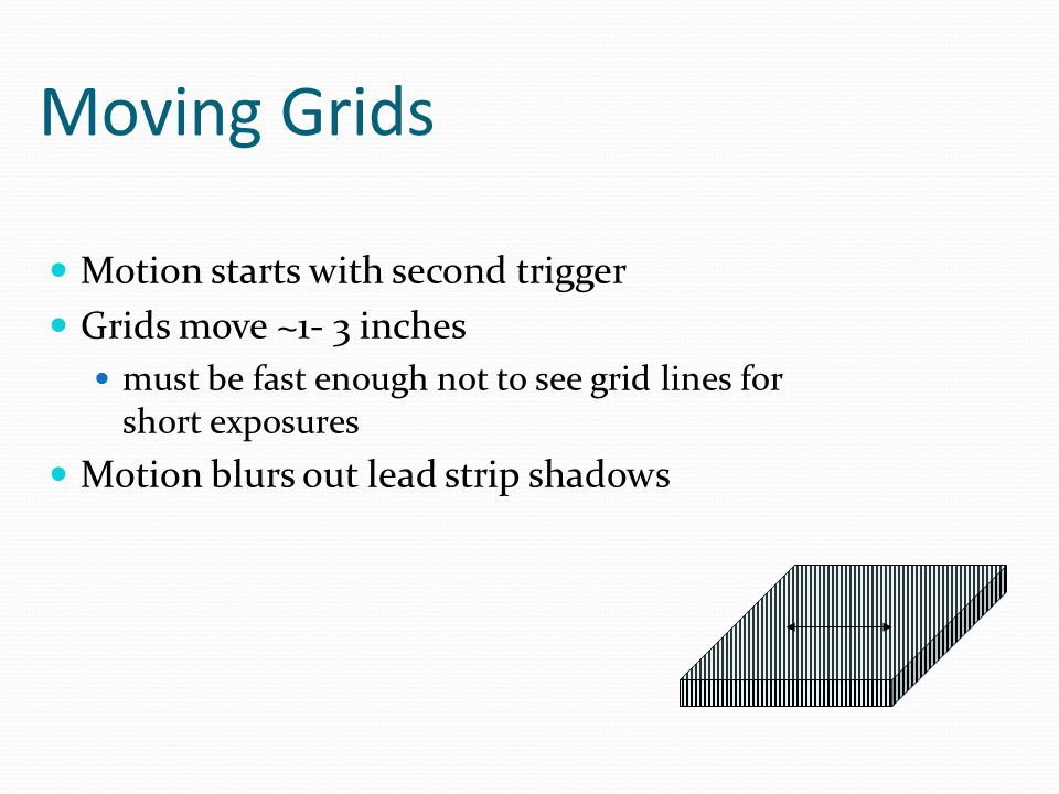 Moving Grids Motion starts with second trigger Grids move ~1- 3 inches