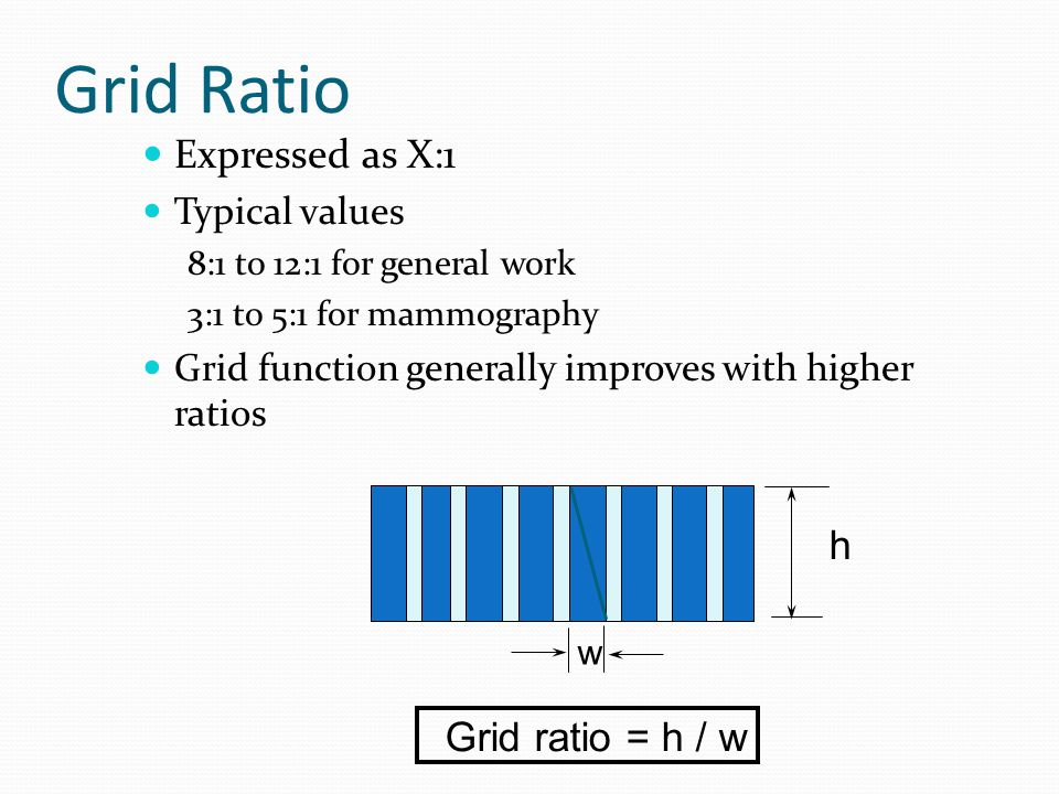 Grid Ratio Expressed as X:1 h Grid ratio = h / w Typical values