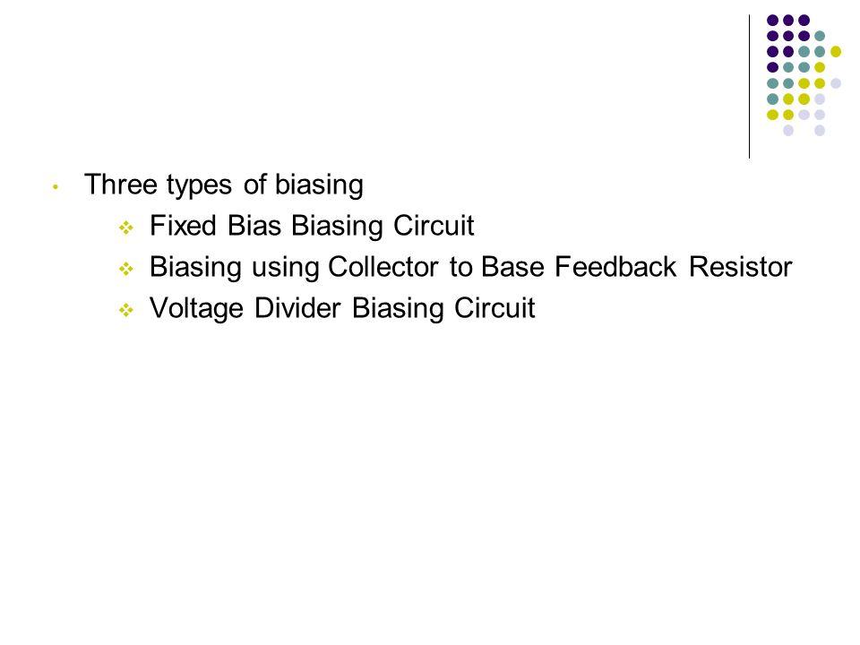 Three types of biasing Fixed Bias Biasing Circuit. Biasing using Collector to Base Feedback Resistor.