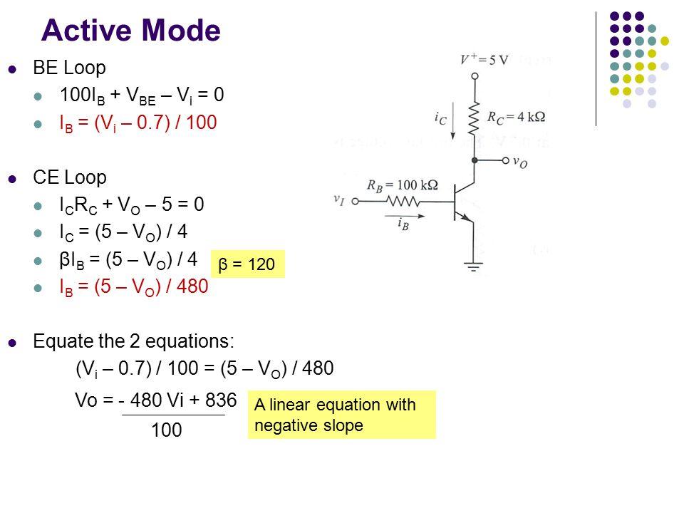 Active Mode BE Loop 100IB + VBE – Vi = 0 IB = (Vi – 0.7) / 100 CE Loop