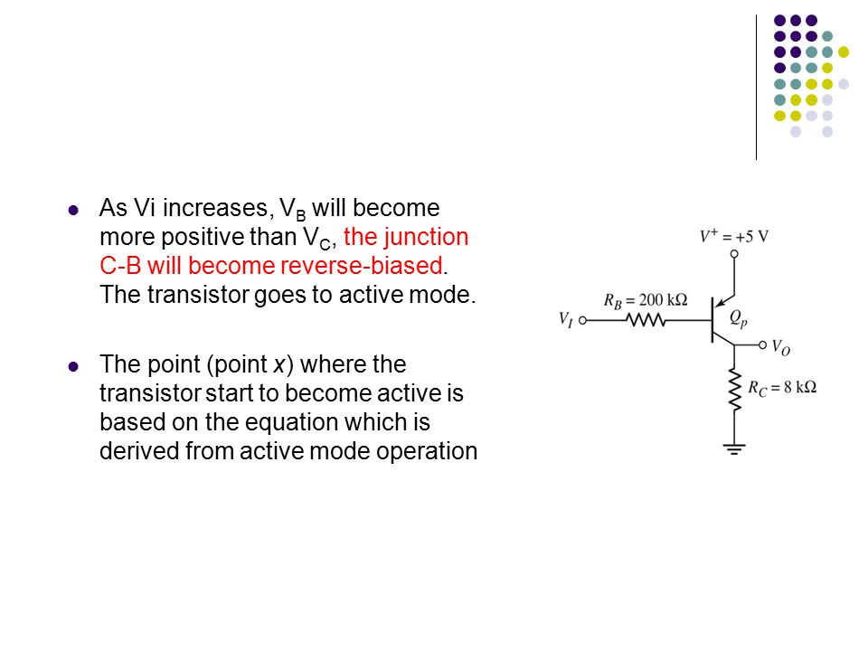 As Vi increases, VB will become more positive than VC, the junction C-B will become reverse-biased. The transistor goes to active mode.