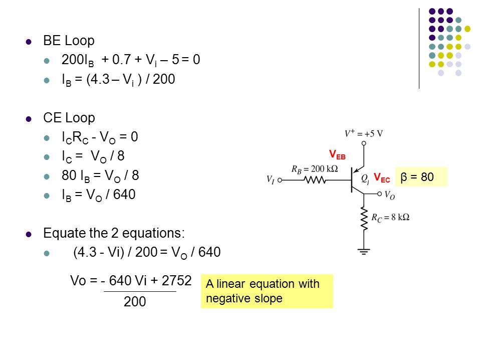 BE Loop 200IB + 0.7 + Vi – 5 = 0 IB = (4.3 – Vi ) / 200 CE Loop