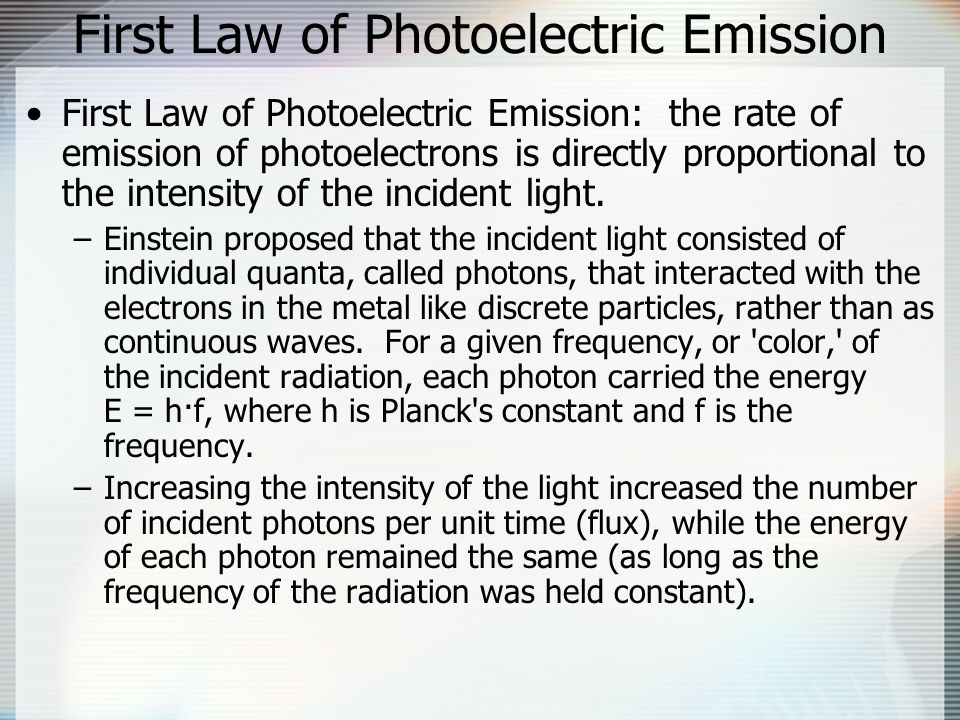 First Law of Photoelectric Emission