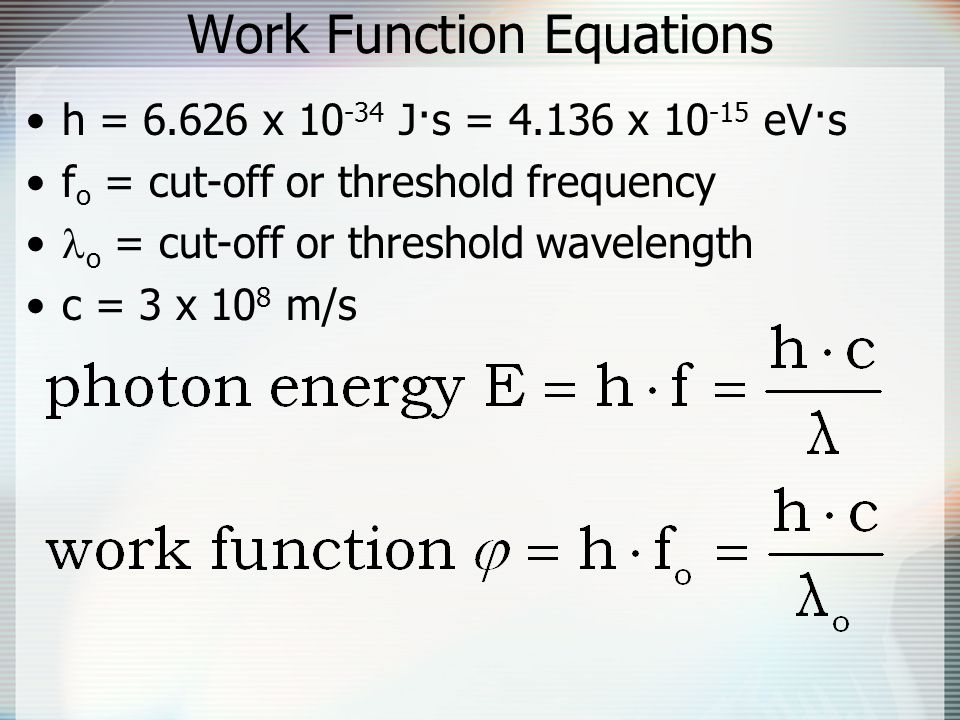 Work Function Equations