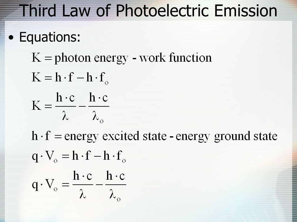 Third Law of Photoelectric Emission