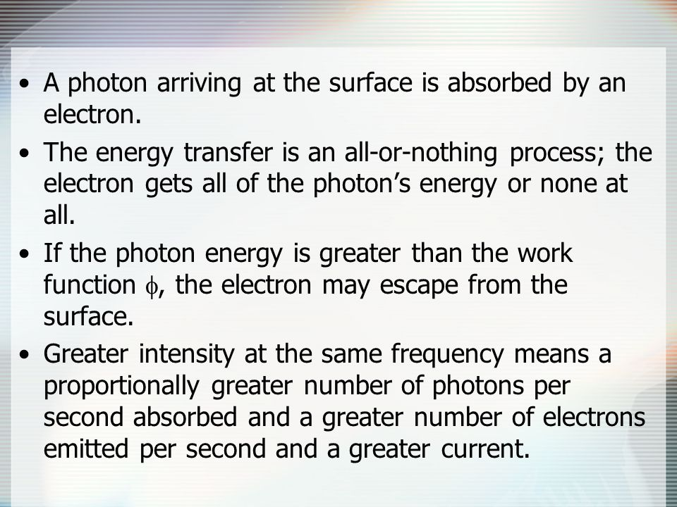 A photon arriving at the surface is absorbed by an electron.