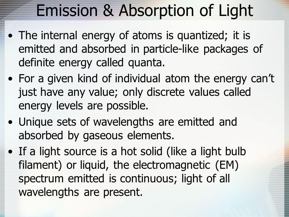 Emission & Absorption of Light