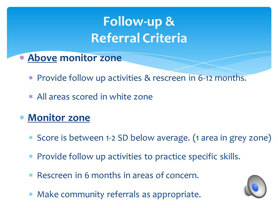 Follow-up & Referral Criteria
