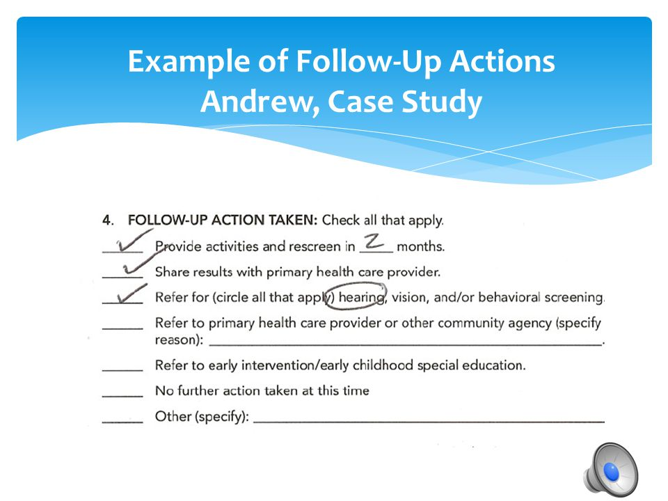 Example of Follow-Up Actions Andrew, Case Study