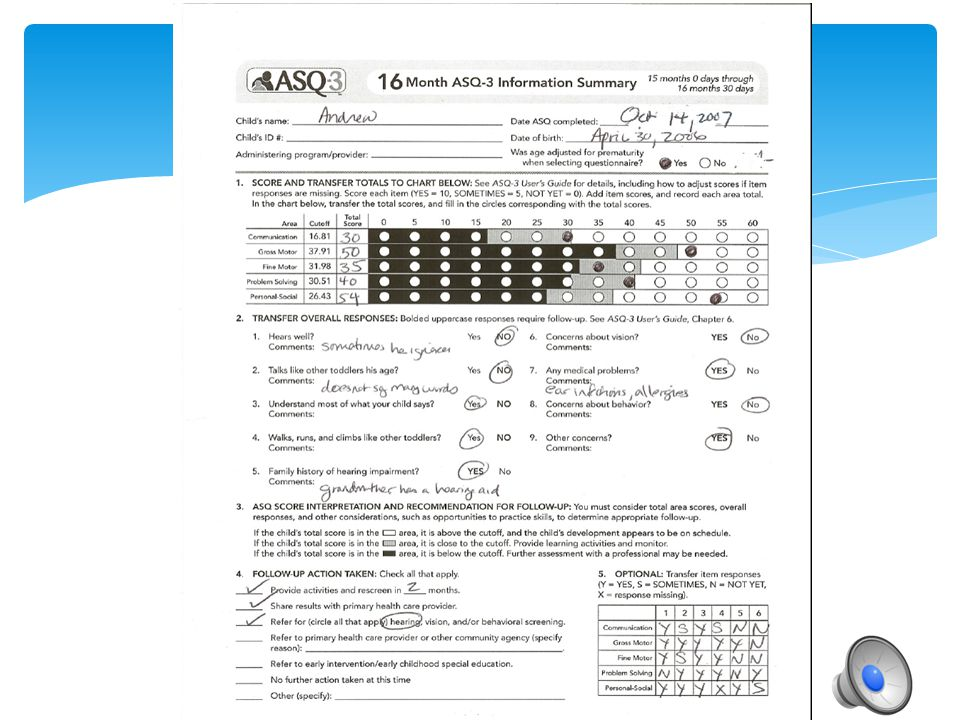 Participants should fill out the ASQ-3 Summary Sheet.