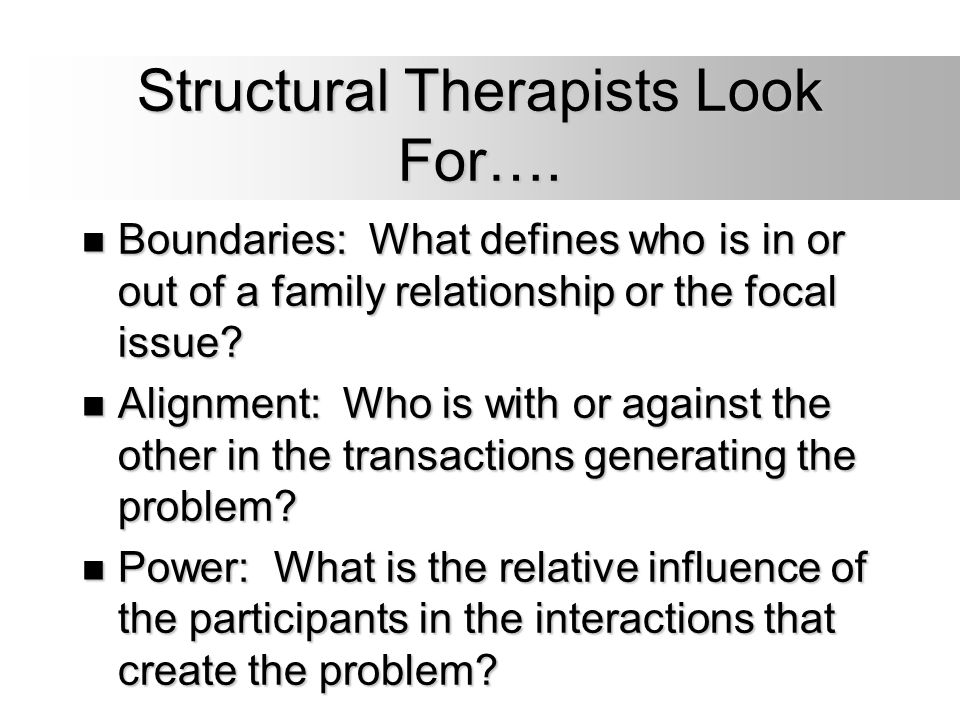 Structural Therapists Look For….