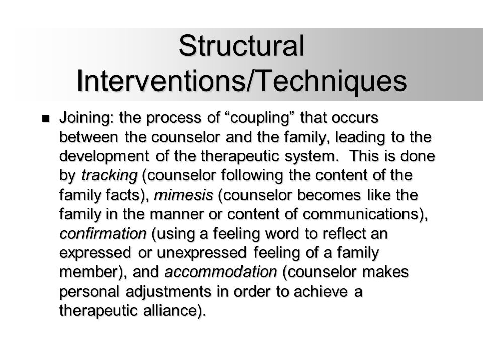 Structural Interventions/Techniques