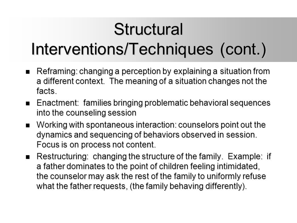 Structural Interventions/Techniques (cont.)