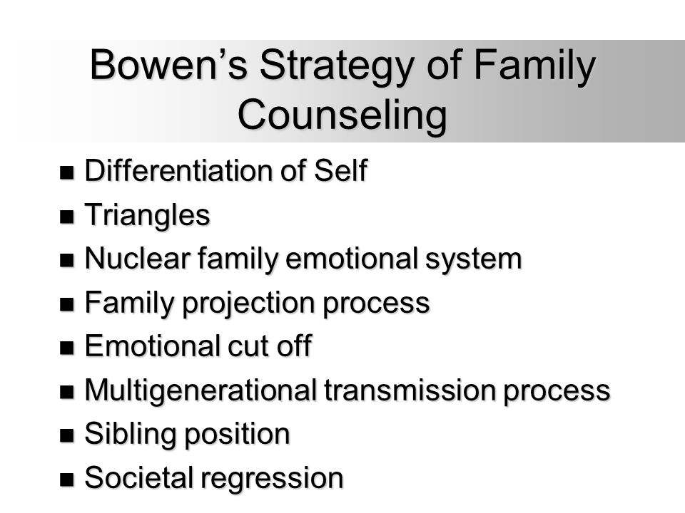 Bowen's Strategy of Family Counseling