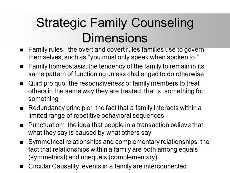 Strategic Family Counseling Dimensions