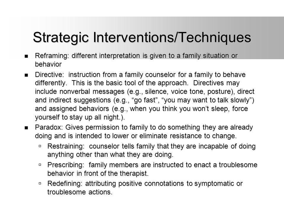 Strategic Interventions/Techniques