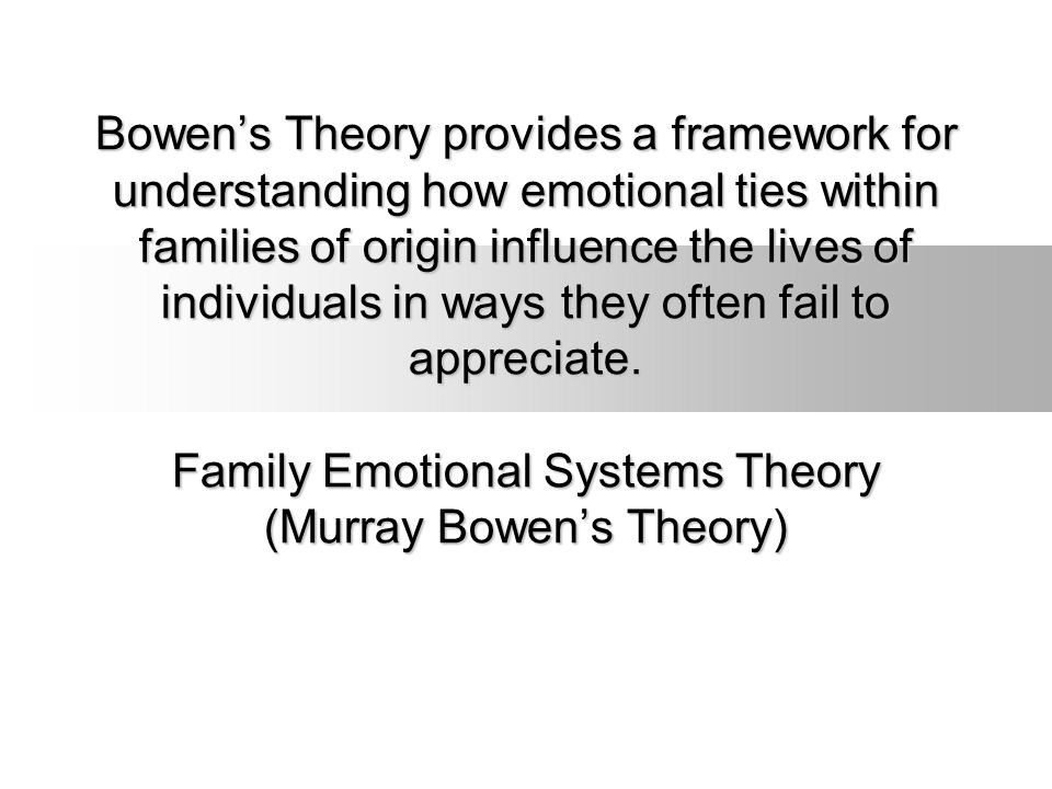 Bowen's Theory provides a framework for understanding how emotional ties within families of origin influence the lives of individuals in ways they often fail to appreciate.