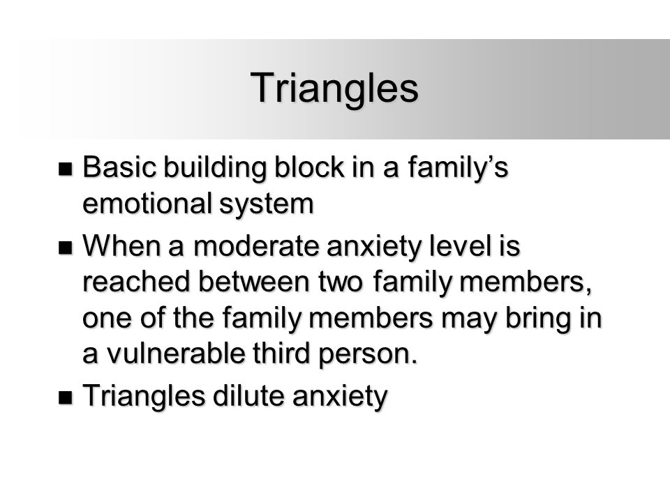 Triangles Basic building block in a family's emotional system