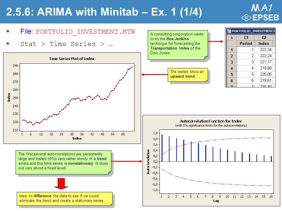 2.5.6: ARIMA with Minitab – Ex. 1 (1/4)