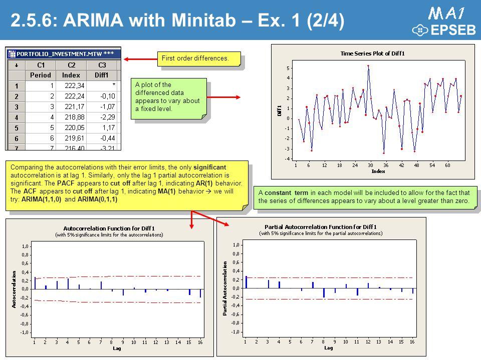 2.5.6: ARIMA with Minitab – Ex. 1 (2/4)