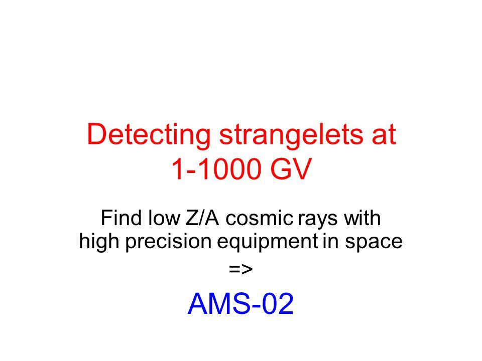 Detecting strangelets at 1-1000 GV