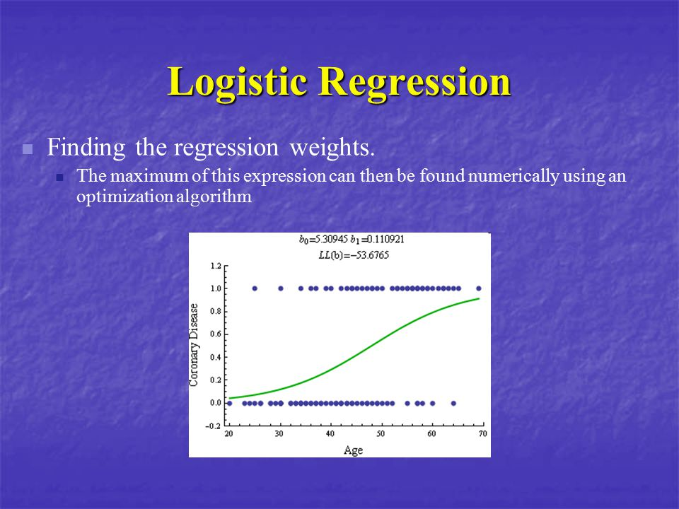 Logistic Regression Finding the regression weights.