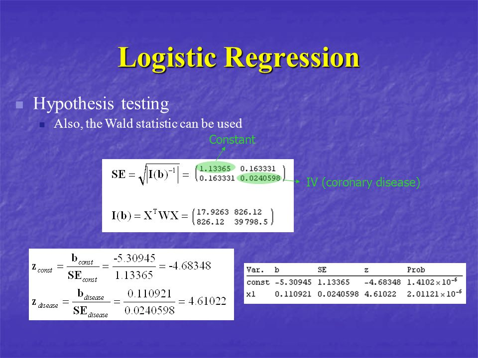 Logistic Regression Hypothesis testing