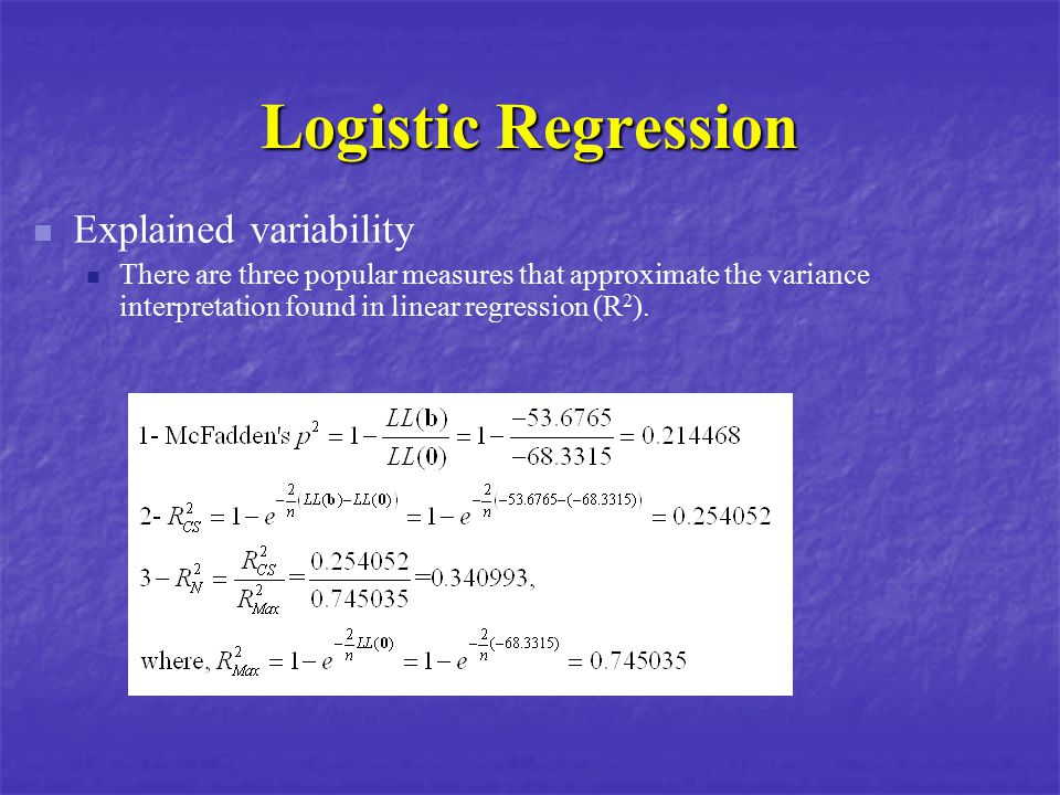 Logistic Regression Explained variability