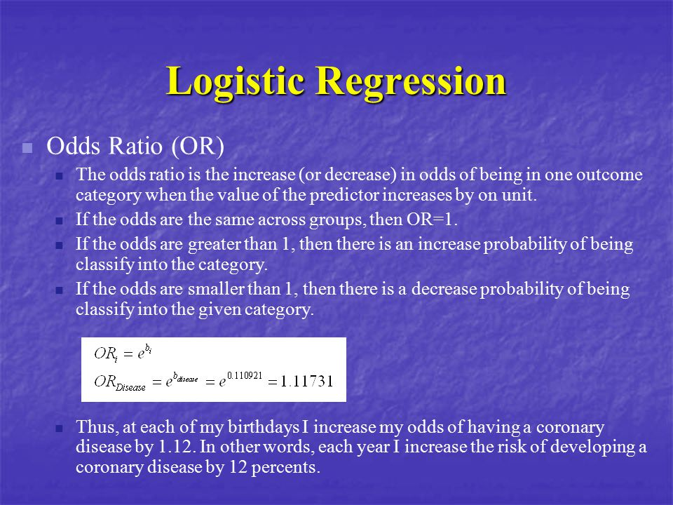 Logistic Regression Odds Ratio (OR)
