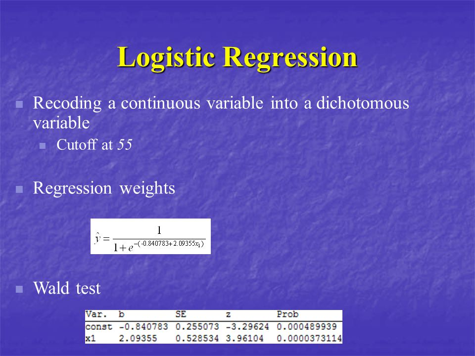 Logistic Regression Recoding a continuous variable into a dichotomous variable. Cutoff at 55. Regression weights.