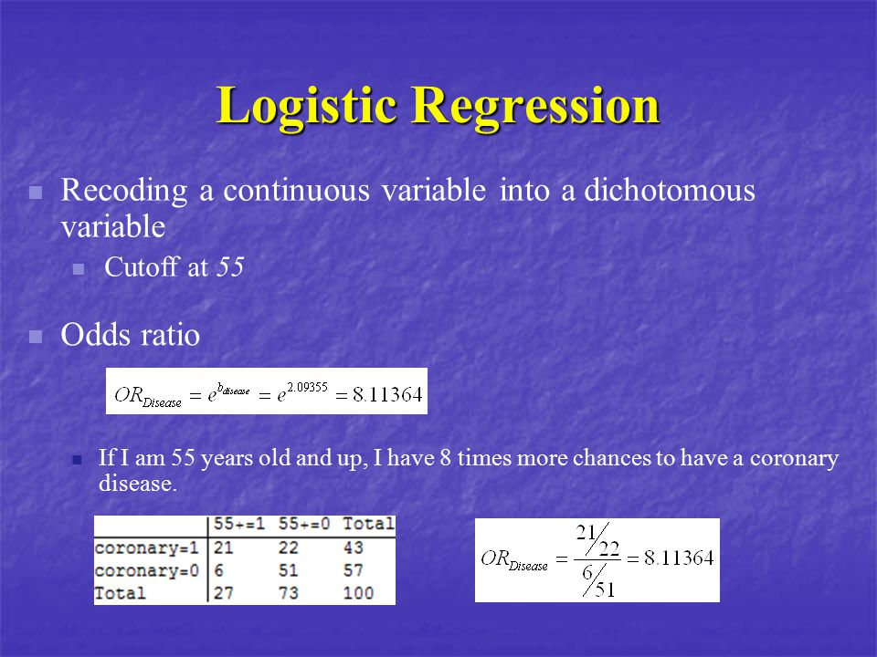 Logistic Regression Recoding a continuous variable into a dichotomous variable. Cutoff at 55. Odds ratio.