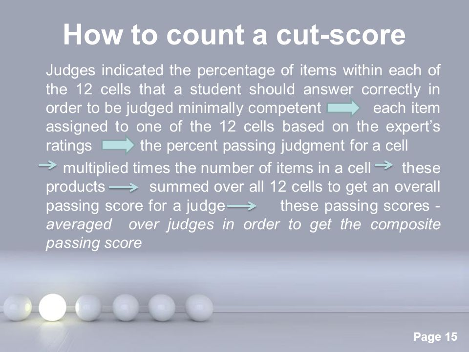 How to count a cut-score
