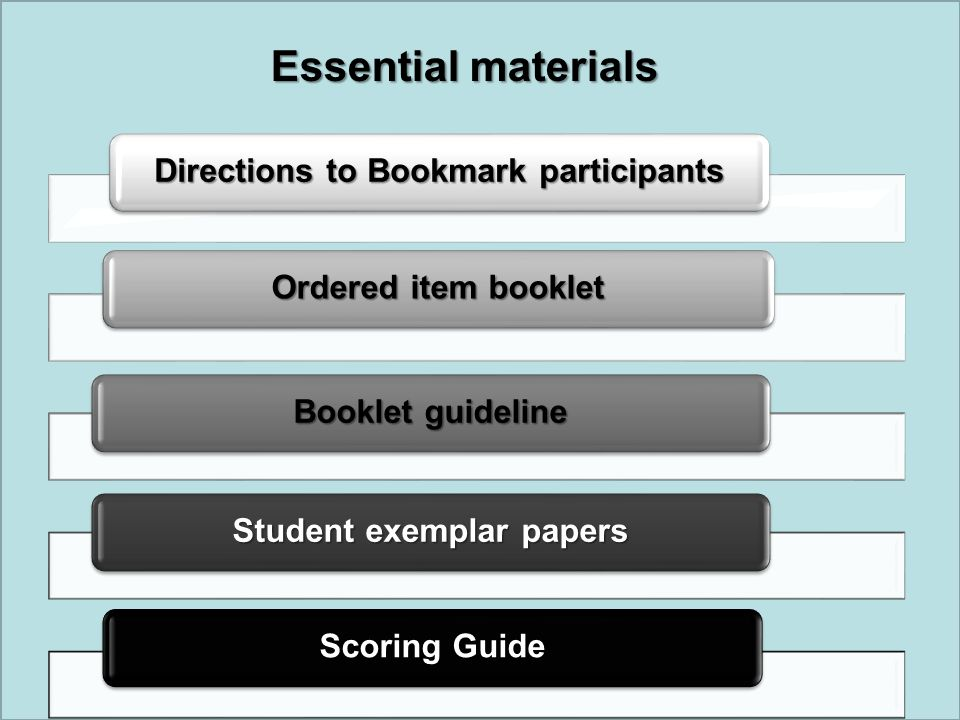 Directions to Bookmark participants Student exemplar papers